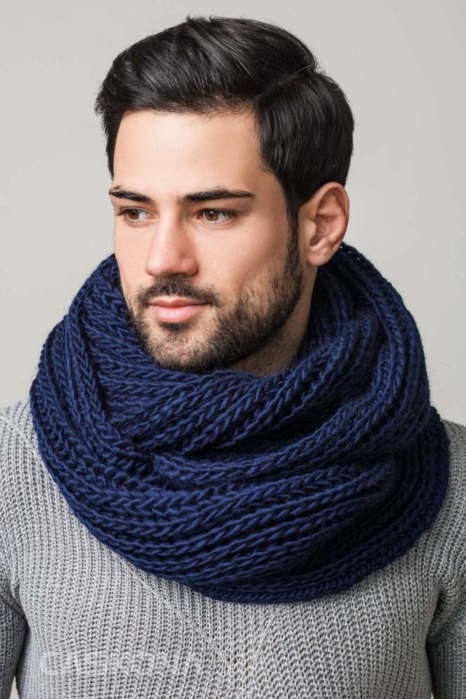 Мужской шарф снуд вязание 937